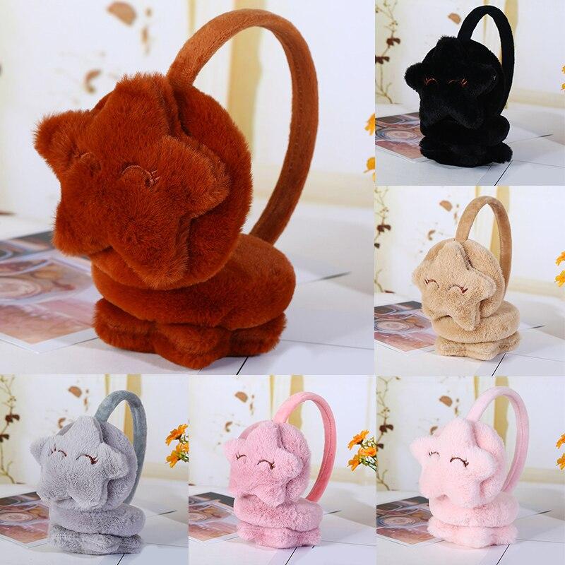 Cute Winter Warm Earmuffs For Children Kids Star Plush Fur Ear Muff Ear Cover Headband For Girls Fashion Brand Drop Shipping