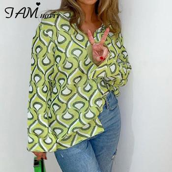 Bluzka z nadrukiem y2k zapinana na zamek damska elegancka puchowa koszula z kołnierzykiem w stylu Vintage z długim rękawem kardigan zielona koszulka koreański 90s Iamhotty tanie i dobre opinie CN (pochodzenie) POLIESTER spandex REGULAR NONE Lato 2021 STANDARD Sukno Na wiosnę jesień Proste TYWFT16146 z włókien syntetycznych