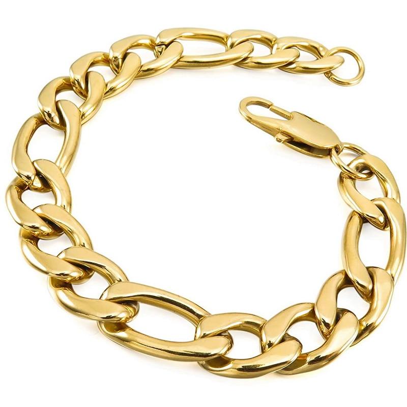 gold chain bracelet mesn stainless steel chain on hand for men bracelet on hand hip hop punk bracelets men accessories Wholesale