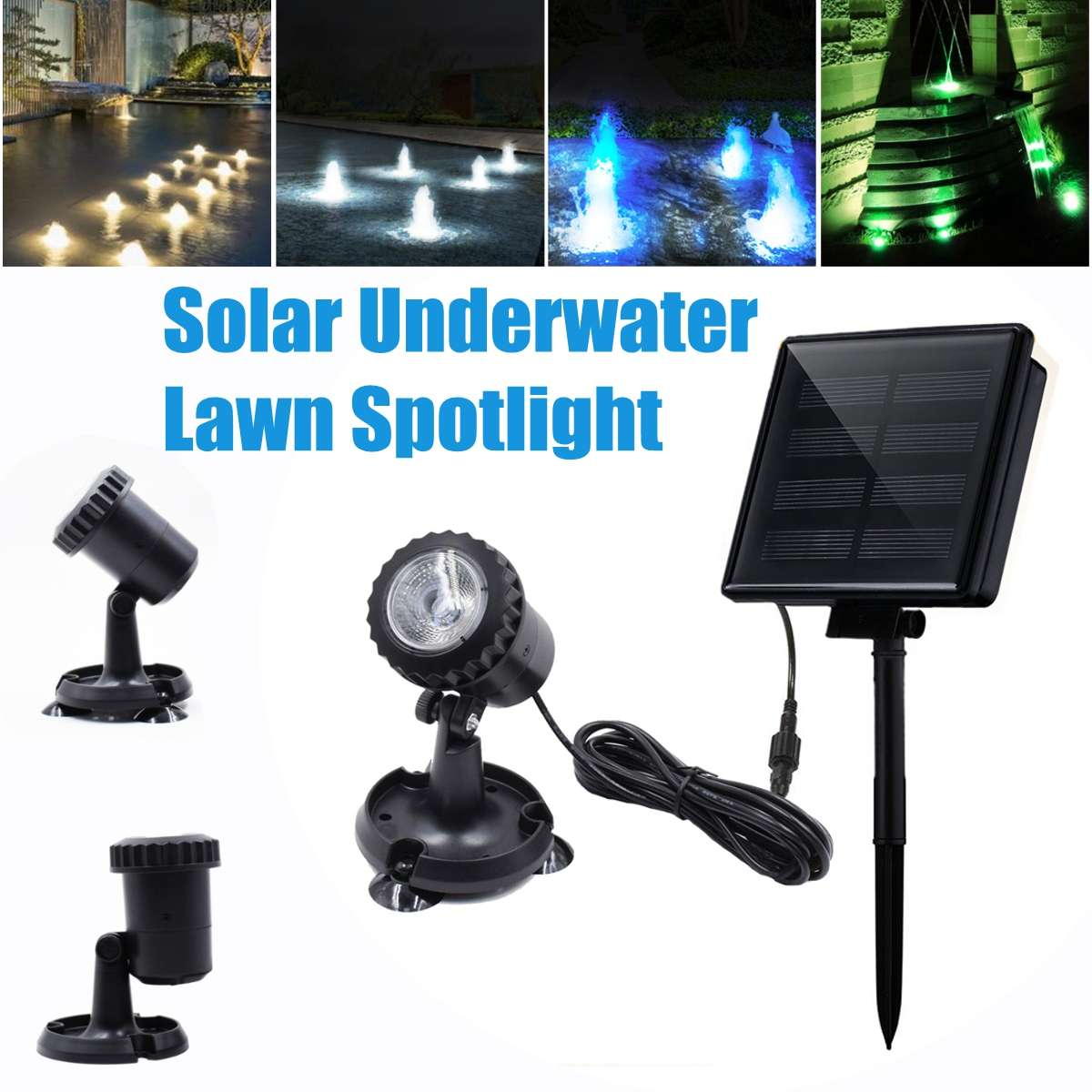 Solar Light Waterproof IP68 Underwater Fountain Pond Lights LED Spotlights For Outdoor Amphibious Lawn Pool Garden