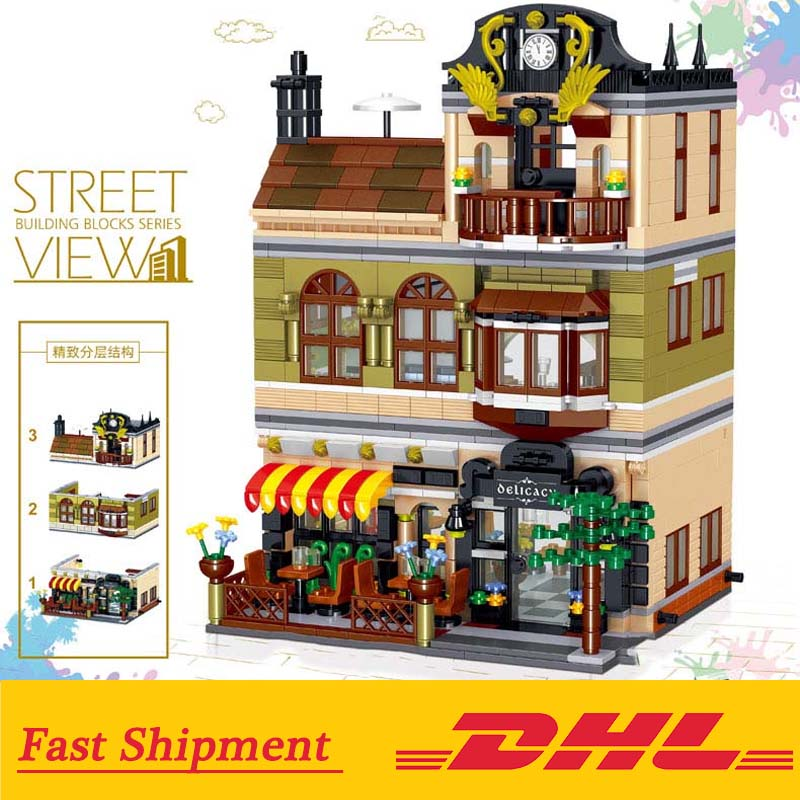 Street View Modular Chinese Restaurant Compatible with Legoings 10243 Restaurant Building Blocks Bricks Toys Kids Birthday Gift 1