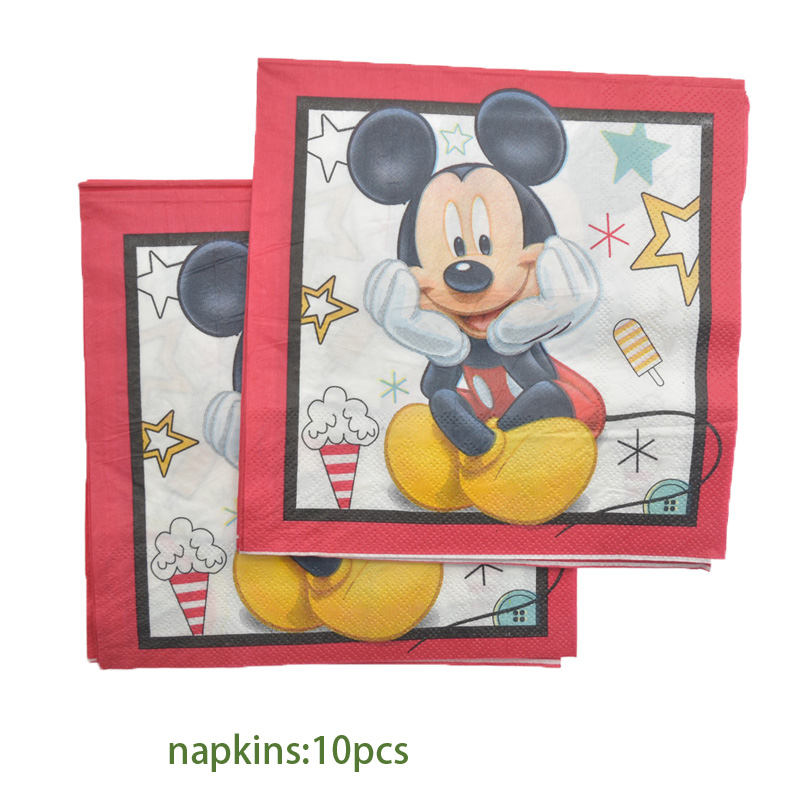 Купить с кэшбэком Unicorn Pokemon Baby Boss Mickey Mouse Minnie Birthday Napkins Paper Towel Decor For Boy Girl Gender Reveal Party Baby Shower Su