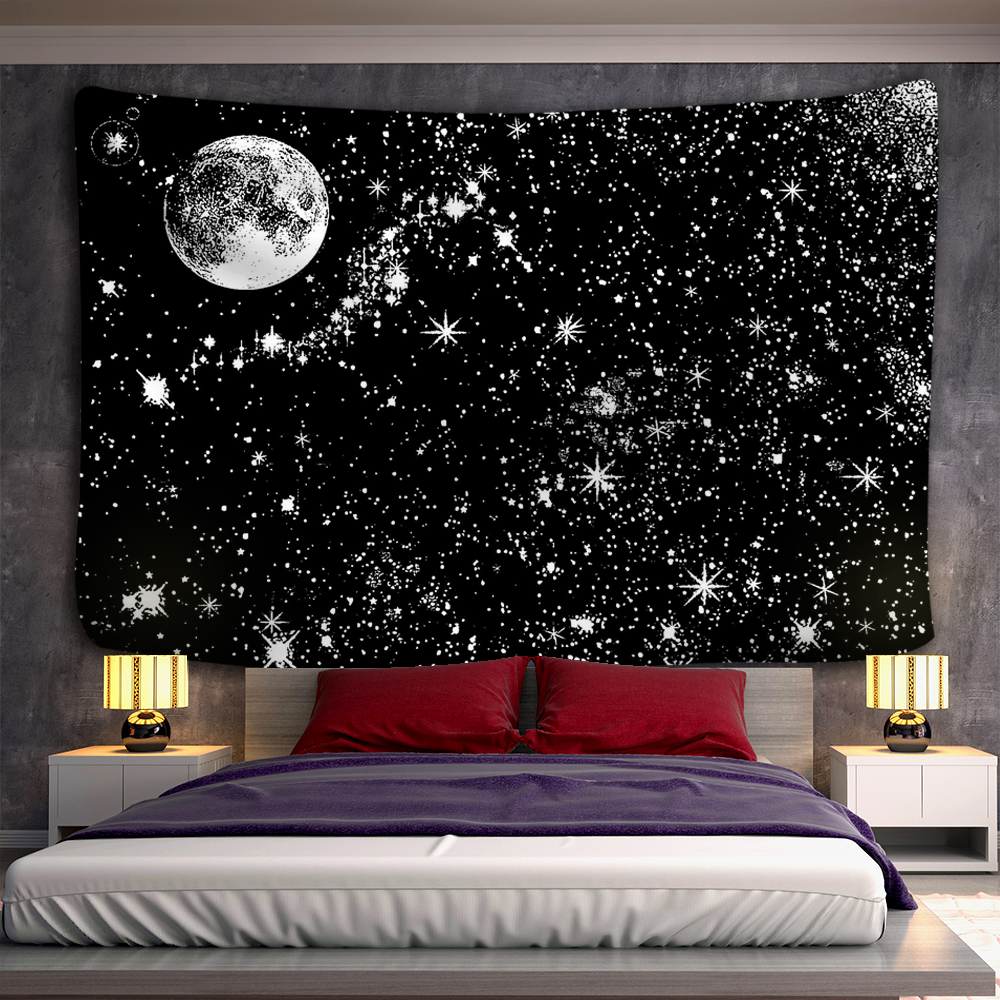 Black and white moon Mandala tapestry Bohemian decoration wall hanging bedroom psychedelic scene starlight art home decoration