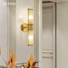 Iluminación Interior creativa luz de pared de cobre moderna minimalista lámpara americana para dormitorio lámpara de noche lámpara de pared para pasillo