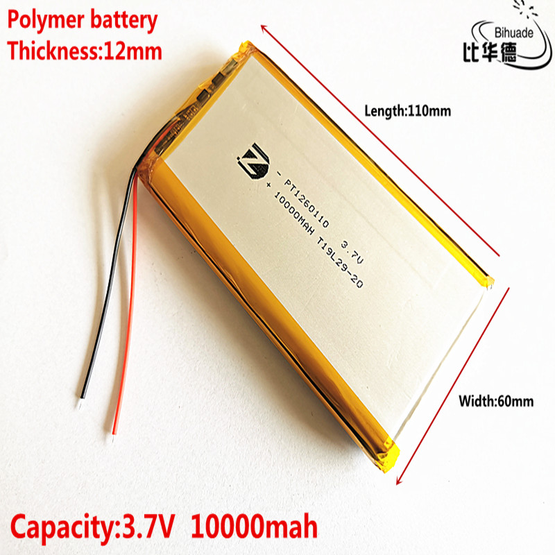 Good Qulity 2020 The Latest Battery 3.7V,10000mAH,1260110 Polymer Lithium Ion / Li-ion Battery For TOY,POWER BANK,GPS