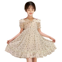 цены beige lace short sleeve dress age for 4 - 14 years teenage girls vintage princess costume 2020 new summer big girls loose frocks