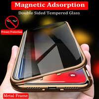 Magnetische Gehärtetem Glas Privatsphäre Metall Telefon Fall 360 Magnet Antispy Schutz Abdeckung Für Iphone XR XS X 11Pro MAX 8 7 6 6s Plus