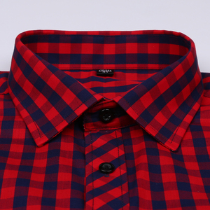 Image 2 - Camicia A Scacchi Plaid degli uomini di vacanza Casual Giovanile Singola Tasca Manica Lunga Standard fit Sottile Comodo di Cotone Camicette
