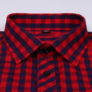 Image 2 - Vacances chemise à carreaux pour jeunes hommes, en coton, à carreaux, à poches simples à Patch, à manches longues, à ajustement Standard, décontracté
