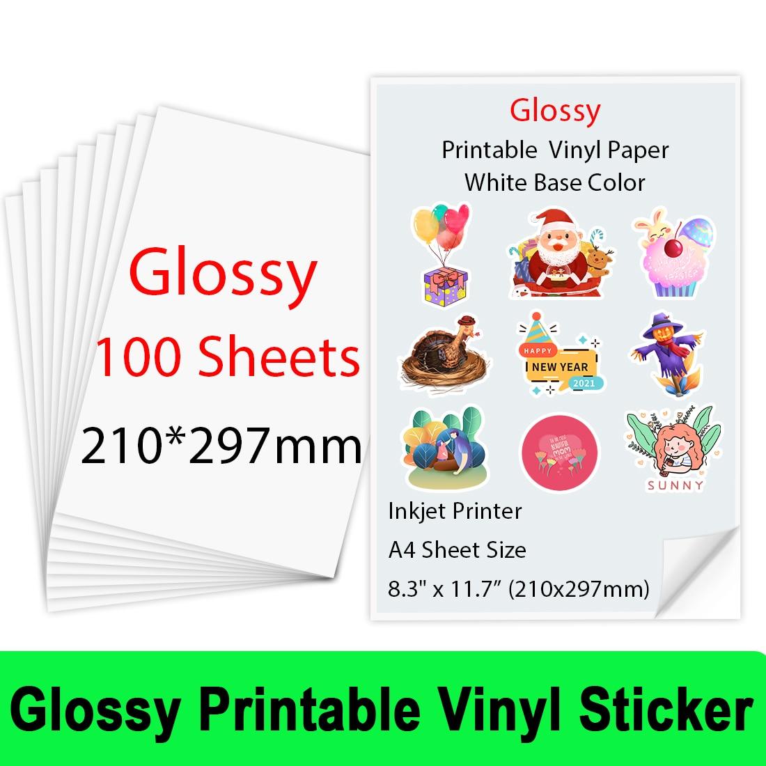 100Sheets A4 210*297mm Glossy Printable Vinyl Sticker Paper for Inkjet printer Self-Adhesive Inkjet Printer Paper Copy Paper