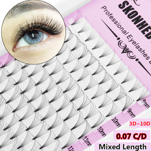 Fans Lashes Mixed-Length Curl Eye-Makeup Faux-Mink Russian-Volume Premade 3d--10d 12-Rows