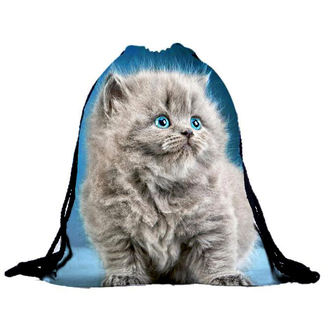 Unisex Cat Backpacks Women Men  3D Printing Bags Cute Drawstring Blue Backpack Girls Boys Drawstring Fashion Casual Handbag Lady