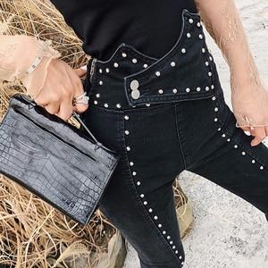 Image 4 - TWOTWINSTYLE 가을 패치 워크 구슬 여성 청바지 하이 웨이스트 슬림 데님 발목 길이 바지 여성 2020 Streetwear Fashion New