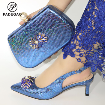 New Arrival Summer Blue Color  Shoes And Bags Set Fashion Italian Women High Heels Shoes And Bag Set For Evening Party