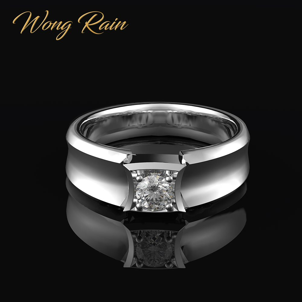 Wong Rain 100% 925 Sterling Silver Created Moissanite Gemstone Wedding Engagement Unisex Men Women Ring Fine Jewelry Wholesale