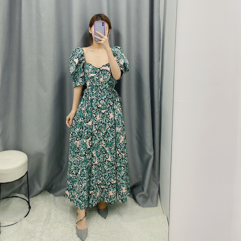 Women Spring High Waist Floral Dress Puff Sleeve Square Collar Printed Long Maxi Beach Vacation Party Dresses WB2033