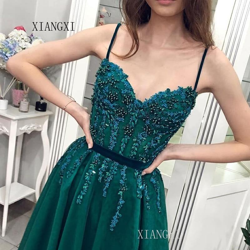 Green Evening Dress Long A-Line Lace Appliques Formal Evening Dresses Floor Length Party Gowns robe de soiree