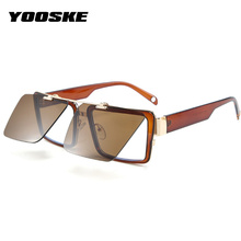 YOOSKE Brand Classic Square Flip Sunglasses Men Vintage Steampunk Sun glasses Wo