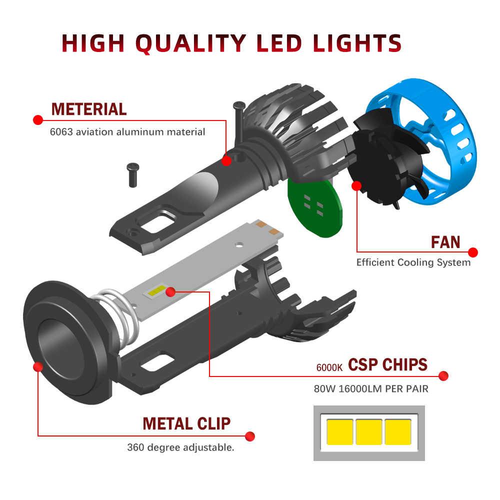 BraveWay Auto Lampade A LED di Chip H1 H4 H7 H8 H11 9005 HB3 9006 HB4 Auto Ha Condotto La Lampadina Del Faro Della Luce di Nebbia 16000LM 6500K 50W Kit di Conversione