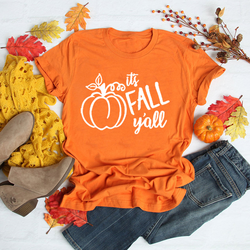 Women's IT'S FALL Y'ALL Cute Funny Fall Autumn Seasonal T Shirt Fashion Tumblr Graphic  Halloween Pumpkin Tee Tops Clothing