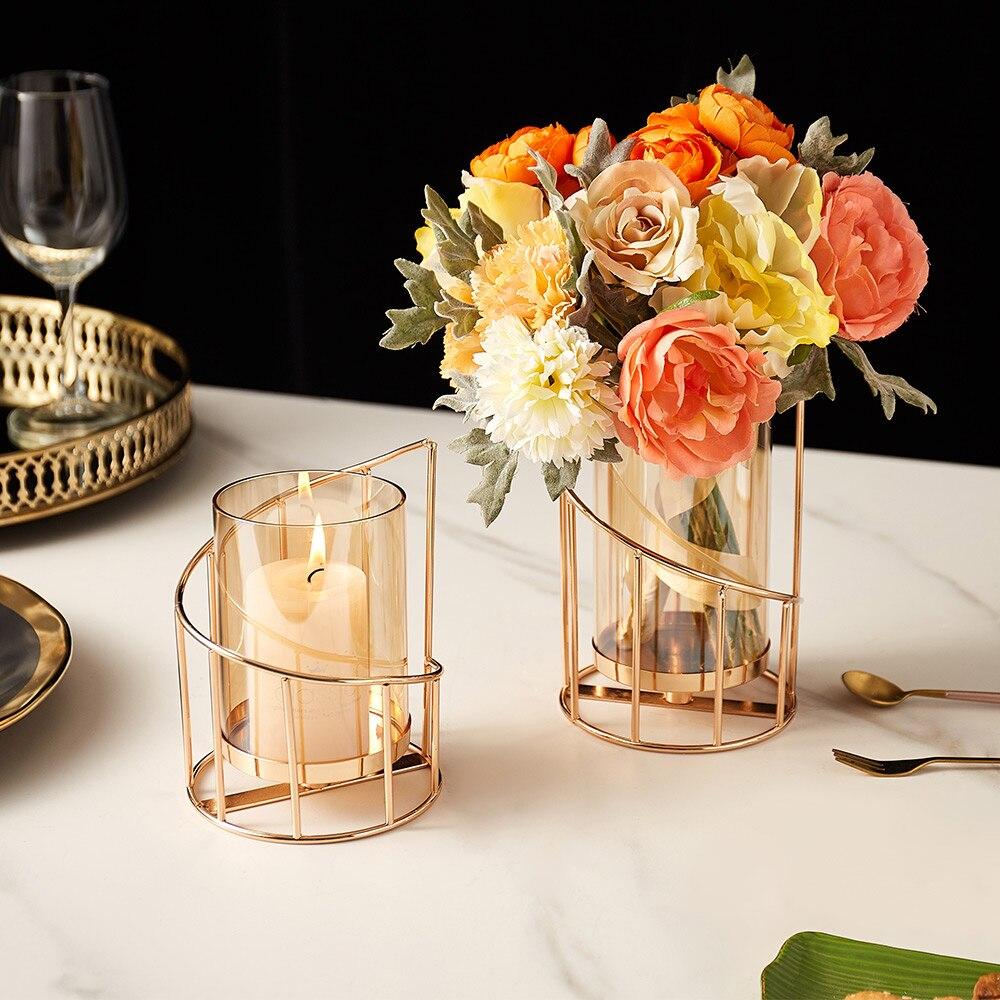 Golden Metal Candle Holder Multifunctional Glass Vase Glass Candle Holder  3
