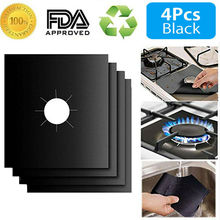 4 Gas Range Stove Top Burner Protector Reusable Liner Clean Cook Non-stick Cover Anti-fouling and Anti-oil Cookware Parts 8 pcs reusable gas stove burner cover protector liner clean mat pad file injuries protection 2