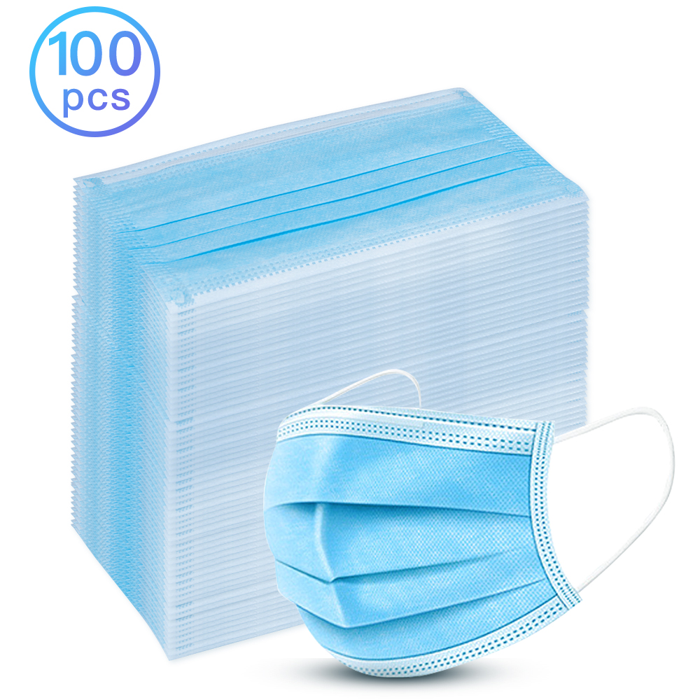100 Pcs 3-Ply Disposable Dustproof Face Mouth Masks Anti PM2.5 Nonwoven Elastic Mouth Soft Breathable Protective Face Mask