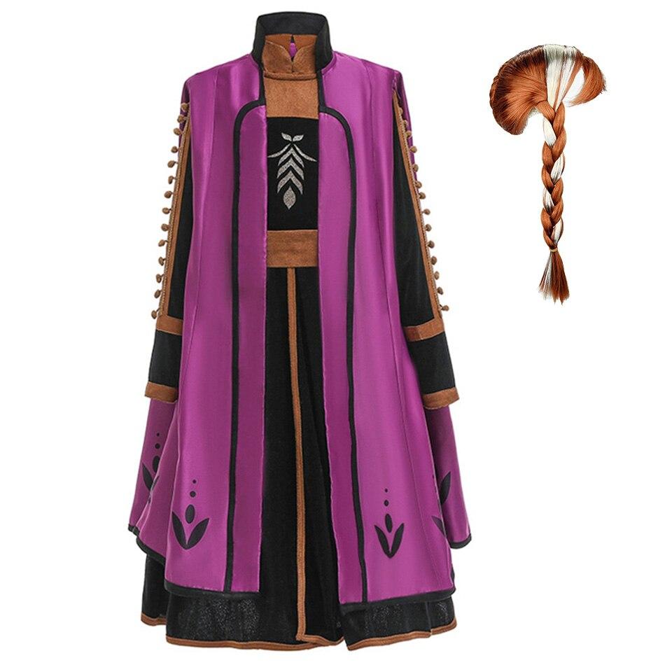 Conjunto de 2 piezas de Capa de princesa de disfraz de lujo de Anna y Snow Queen 2 para niñas, ropa de fiesta de Halloween para niños