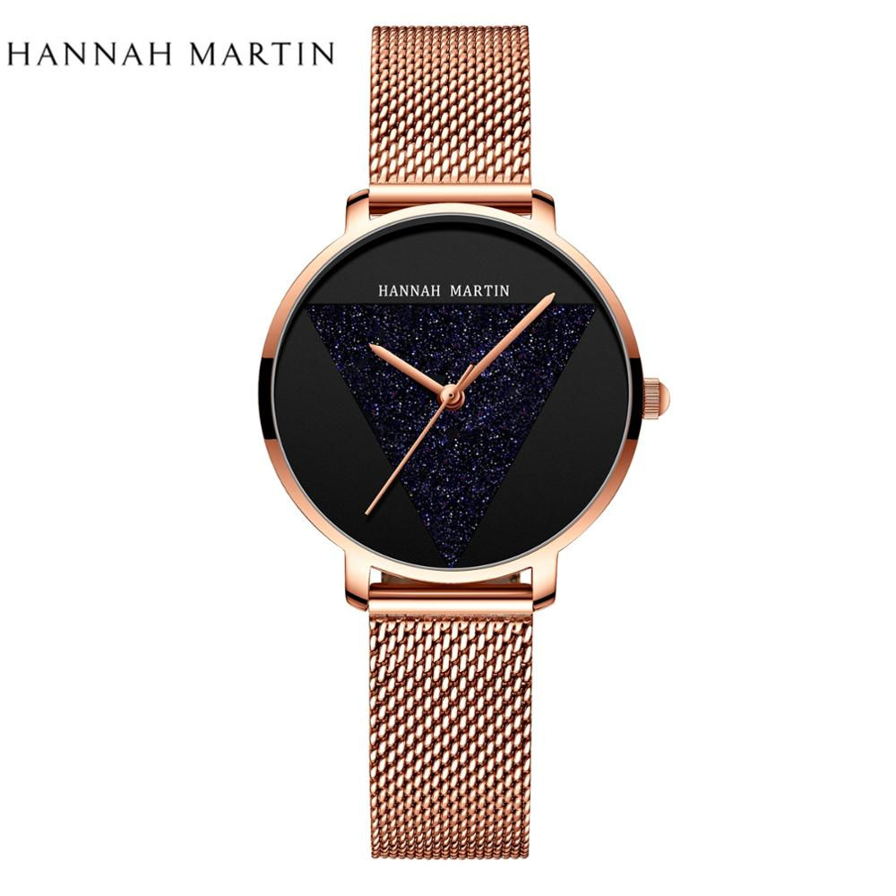 Dropshipping Japan Quartz Movement High Quality Ultra-thin Hannah Martin Women Stainless Steel Mesh Waterproof Ladies Watch