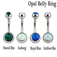 1pc 14g stainless steel navel piercing opal belly ring body jewelry Crystal Rhinestone Belly Button Rings button