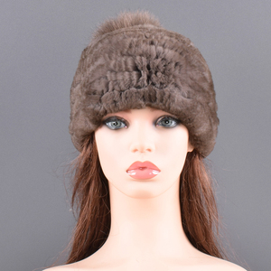 Image 3 - Winter Fur hat for women Real rabbit Fur Hats Elastic Warm Soft Fluffy Genuine Fox Fur Pompom Cap Luxurious Quality Natural fur