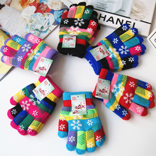 6 Pairs Kids Stretchy Christmas Print Gloves Warm Winter Knitted Mittens Christmas Gift Gloves wholesale худи print bar christmas winter