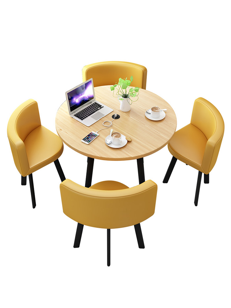 Simple Negotiation Table And Chair Combination Small Round Table, One Table, Four Chairs, Tea Shop, Coffee Shop, Office Meeting
