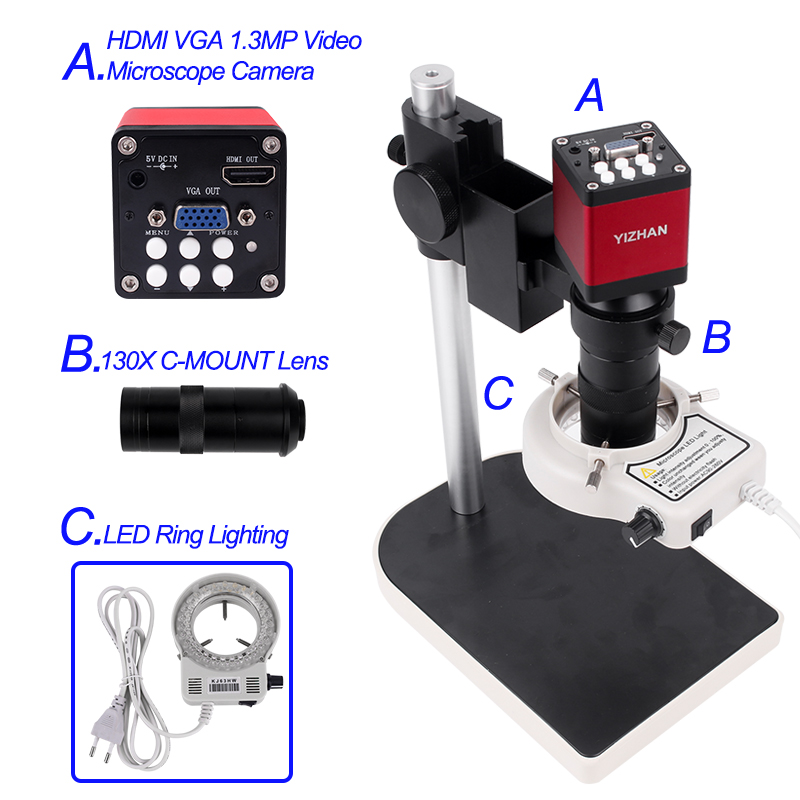 HDMI Microscope Camera Set   HD 13MP 60F/S HDMI VGA Industrial Microscope Camera+130X C Mount Lens 56 LED Ring Light Lamp