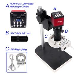 Комплект микроскопов HDMI HD 13MP 60F/S HDMI VGA промышленная камера микроскопа + 130X C крепление объектива 56 светодиодный светильник-кольцо