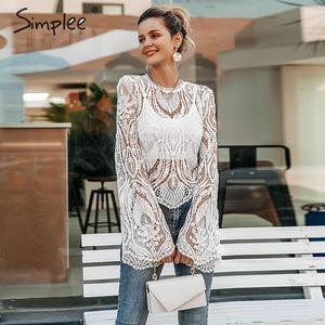 Image 2 - Simplee 섹시한 속이 빈 레이스 자수 여성 블라우스 셔츠 우아한 플레어 슬리브 여성 파티 셔츠 투명 숙녀 탑 셔츠