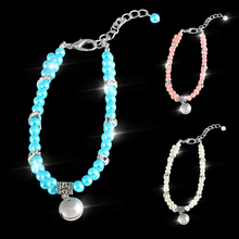 Fashion Pet  Dog Cat piggy Pearl Necklace collar Bell Pendant For Puppy Accessories Jewelry Pink White Blue D40