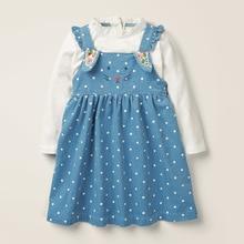 Dresses Mouse Girls Autumn Blue Little Maven Corduroy Cotton Cartoon Children Dot Suspender