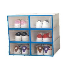 6Pcs Plastic Shoe Box Stackable Foldable Organizer Drawer Storage Case with Flipping Lid Clear Door Ladies Men 34x24x14cm