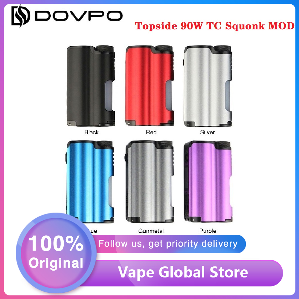 Original DOVPO Topside 90W Top Fill TC Squonk MOD With 10ml Large Squonk Bottle & 0.96 Inch OLED Screen VS DRAG Box Mod Ecig