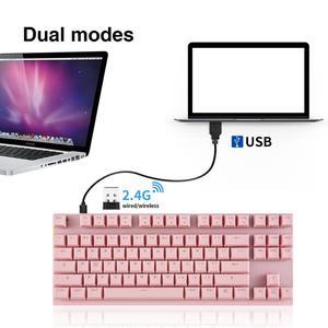 Image 3 - MOTOSPEED GK82 Portable 2.4G filaire/sans fil double Mode clavier mécanique 87 touches LED rétro éclairage Gaming bleu/rouge commutateur PC Gamer