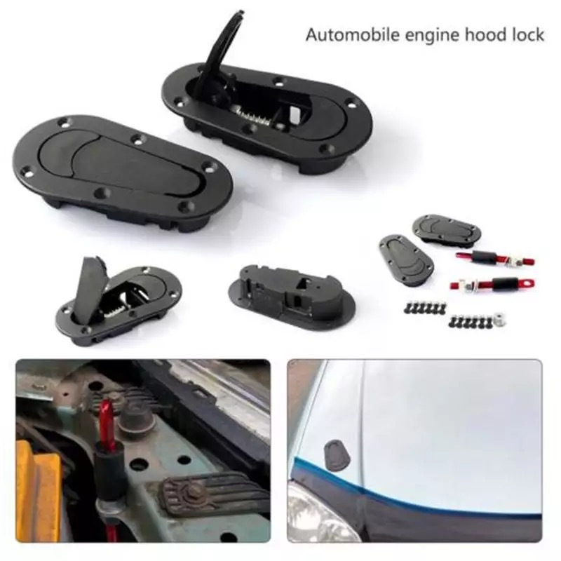 Racing Auto Carbon Fiber Hood Pin Plus-Flush Mount latch Kit Lock Mit Schlüssel