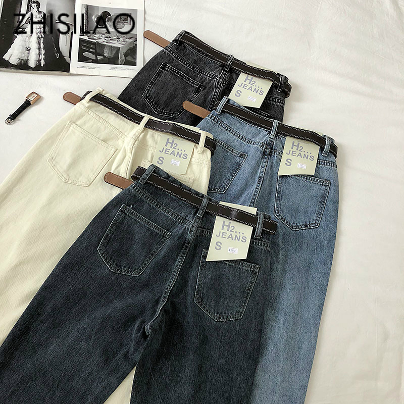 Straight Harem Jeans Women High Wasit Boyfriend Mom Jeans Mujer Blue Black Vintage Elegant Denim Jeans Pants With Belt 2020