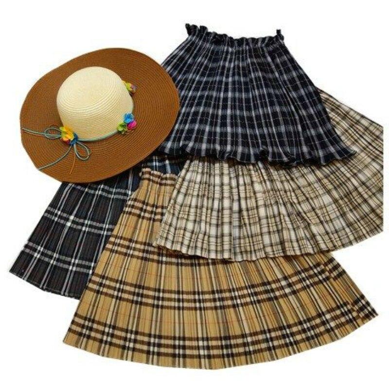Plaid Skirts Women 2019 Summer Fashion A-line High Waist Elastic Skirt Female Sexy Mini Short Checked Pleated Skirt School