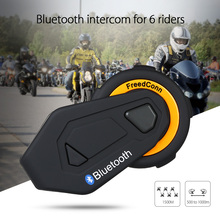 Buy Freedconn T-Max Motorcycle Helmet Bluetooth Intercom Headset 6 Riders Group Talking FM intercomunicador moto + Soft Earpiece directly from merchant!