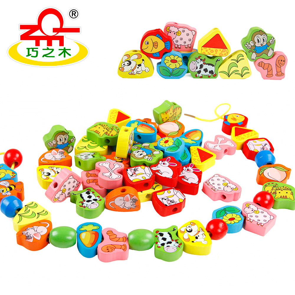 New Style Threading Wearing Rope Bead-stringing Toy Animal Fruit String Music Children Wooden Educational Early Childhood ENLIGH