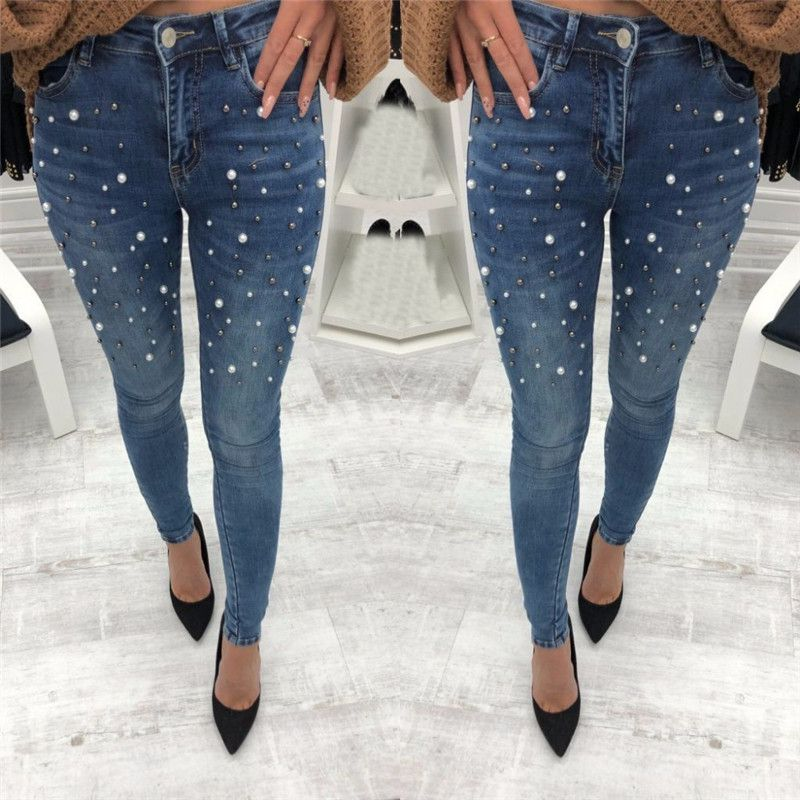 Slim   Jeans   For Women High Waist Pearled Slim Denim Pants Stretch Beading   Jeans   Washed Denim Skinny Pencil Pants Female