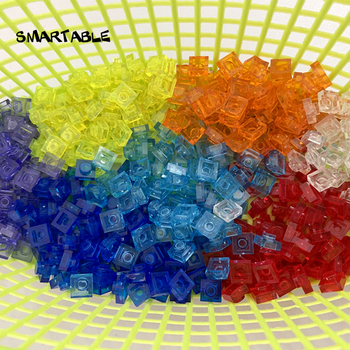 Smartable Plate 1x1 Transparent Building Block Part DIY Toy For Kids 8 Colors Creative Compatible Major Brands 3024 550pcs/lot