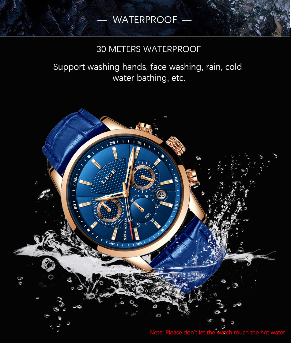 Hcb765e56929d4f03be6ab52bd231c7cbC LIGE New Men Watch Top Brand Blue Leather Chronograph Waterproof Sport Automatic Date Quartz Watches For Mens Relogio Masculino