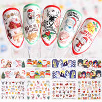 36pcs Christmas Water Transfer Slider Santa Claus Snowman Stickers For Nail Winter Manicure New Year Decoration Set JIBN985-1020